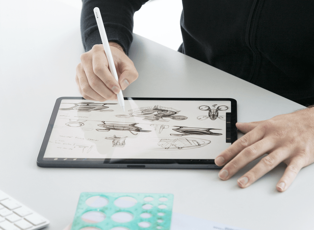 Drawing product designs on tablet